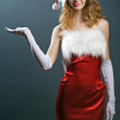 Christmas woman in beauty red dre - Stock Photo