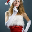 Stock Photo: Christmas woman in beauty red dre