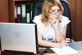 Beauty woman secretary in office — Stock Photo