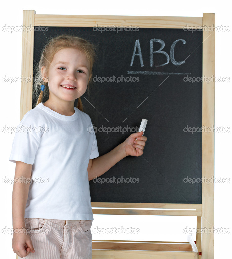 Little girl with blackboard on white background — Stock Photo #1797520