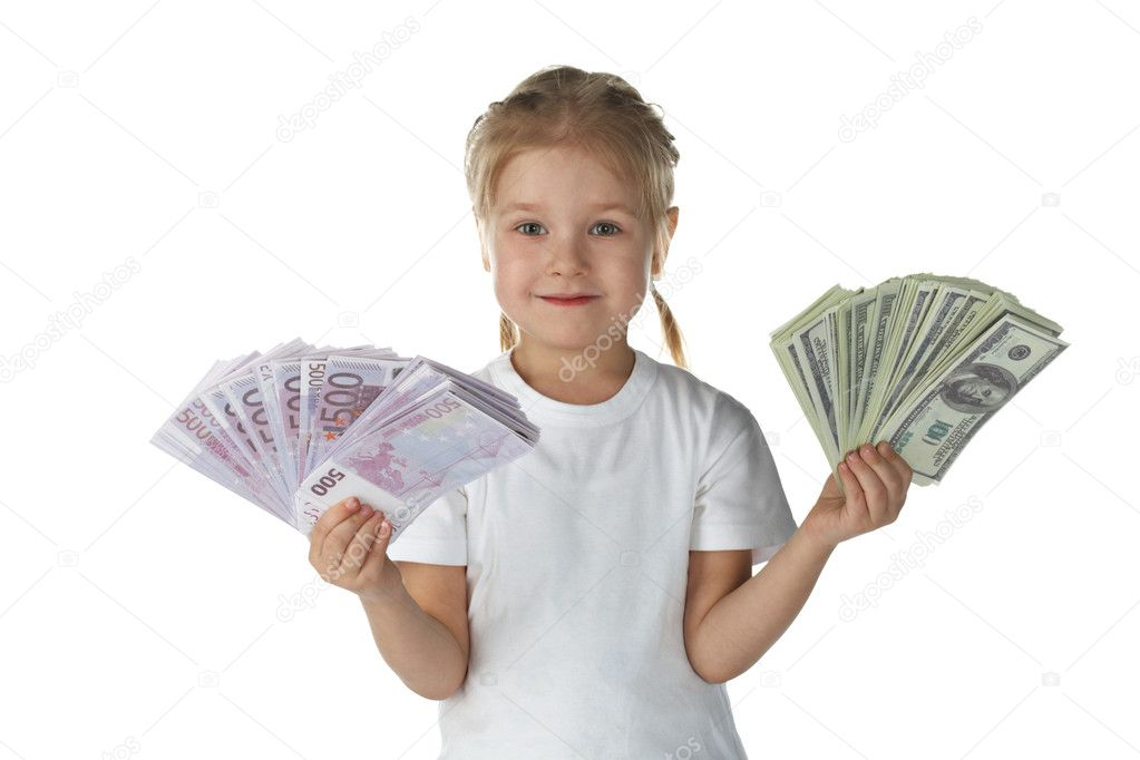 Little girl child with money over white background  Stock Photo #1857003