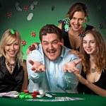 Poker players in casino — Stock Photo