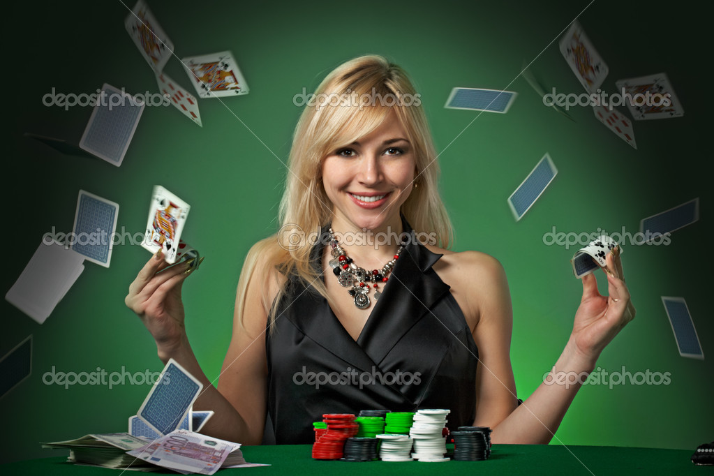 Poker player in casino with cards and chips on green background — Stock Photo #2084457
