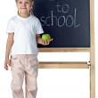 Little girl and blackboard — Stock Photo