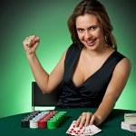 Poker player in casino — Stock Photo