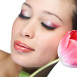 Stock Photo: Beauty woman with flower