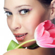 Beauty woman with flower - Stock Photo