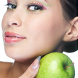 Beauty woman with fruit — Stock Photo