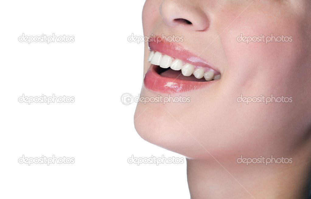 Woman smiling with great teeth on white background — Stock Photo #2285286