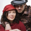 Couple wearing hats — Stock Photo