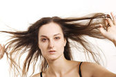 Wind in the long hair — Stock Photo