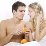 Couple enjoying breakfast — Stock Photo