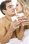 Couple in love with morning coffe — Stock Photo