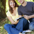 Young happy couple reading a book — Stock Photo #1543953