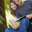 Couple reading a book in park - Stock Photo