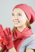 Beautiful girl in winter clothing — Stock Photo