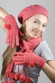 Girl in winter clothing — Stock Photo