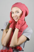 Happy girl in winter clothing — Stock Photo