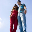 Couple against the sky — Stock Photo