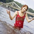Girl having fun in water — Stock Photo #1555326