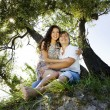 Couple on the island under the tree — Stock Photo