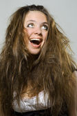 Young woman laughs — Stock Photo