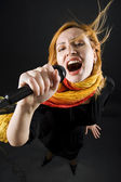 Bizzare female singer — Stock Photo