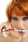 Beads in mouth — Stock Photo