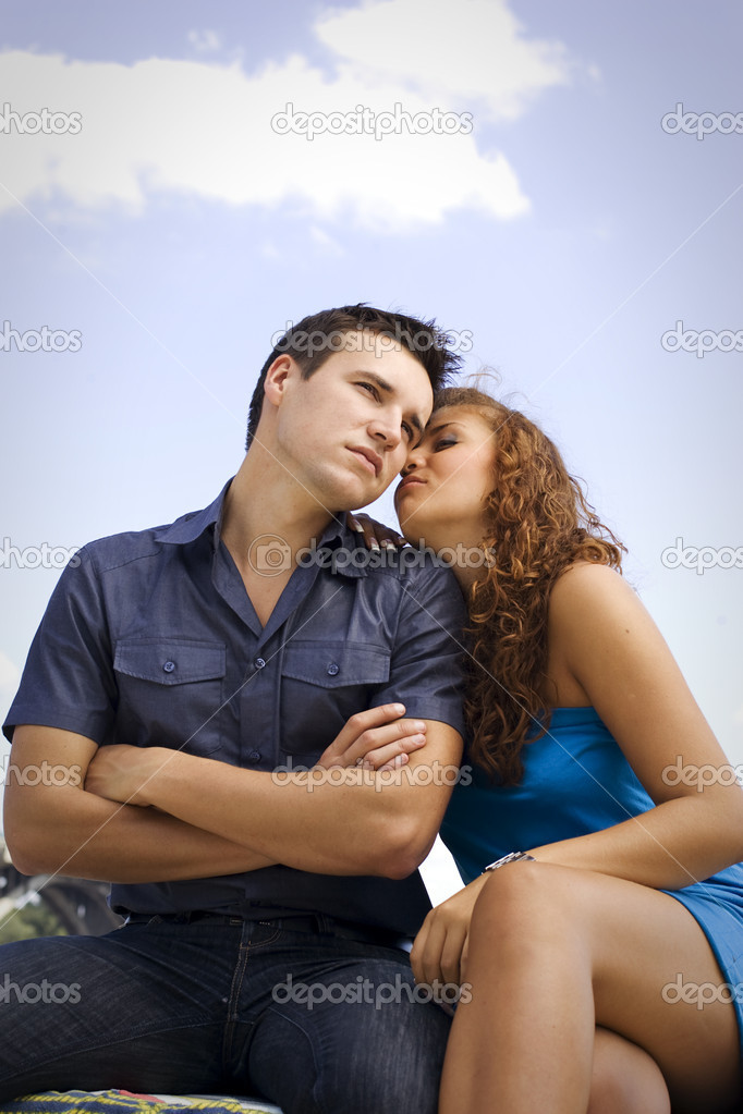 Young couple have outdoor dating.  Stock Photo #1552190