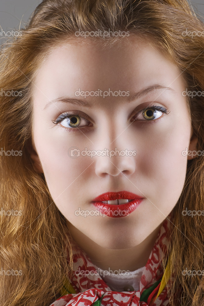 Closeup of a young beautiful woman.   Stock Photo #1554165