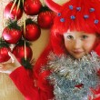 Cute girl and Christmas Tree — Stok fotoğraf