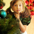 Cute girl and Christmas Tree — Stockfoto #1523787