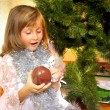 Cute girl and Christmas Tree — Foto Stock