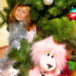 Cute girl and Christmas Tree — Foto de Stock
