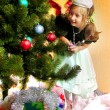 Cute girl and Christmas Tree — Stock Photo #1523796