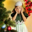 Cute girl and Christmas Tree — Стоковое фото