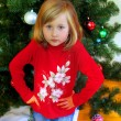 Cute girl and Christmas Tree — Stock Photo #1523801