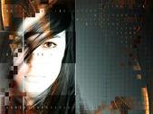 Design with beautiful futuristic girl — Stock Photo