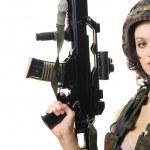 Sexy Spy with Gun — Stock Photo