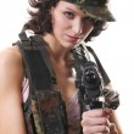 Sexy Spy with Gun — Stock Photo #1582397