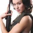 Sexy Spy with Gun — Stock Photo