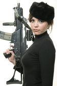 Sexy spy com arma — Fotografia Stock