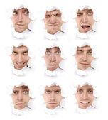 Faces of the emotional man — Stock Photo