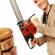Stock Photo: Chainsaw man