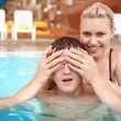 Pretty couple is swimming in the waterpark — Stock Photo #1228709