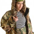 Woman in camouflage — Stock Photo