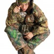 Stock Photo: Woman in camouflage