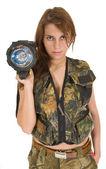 Woman with flashlight — Stock Photo