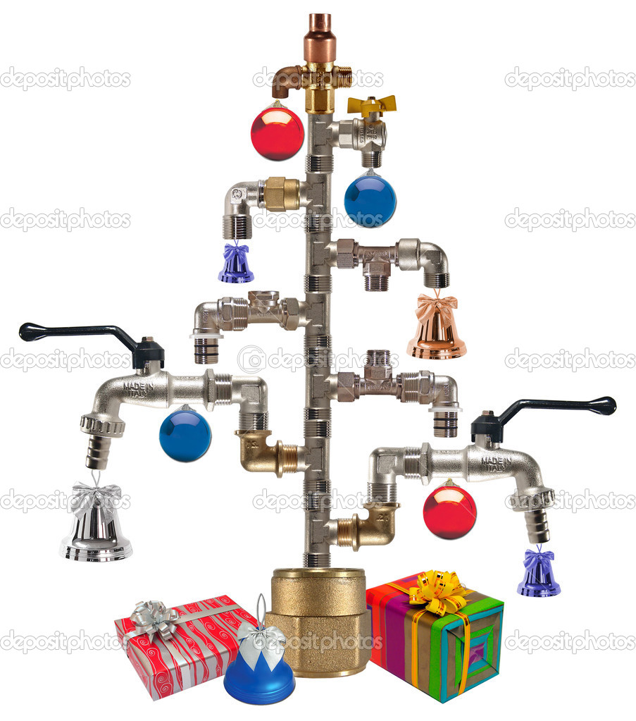 Cristmas tree made from fittings & taps — Stock Photo #1226542