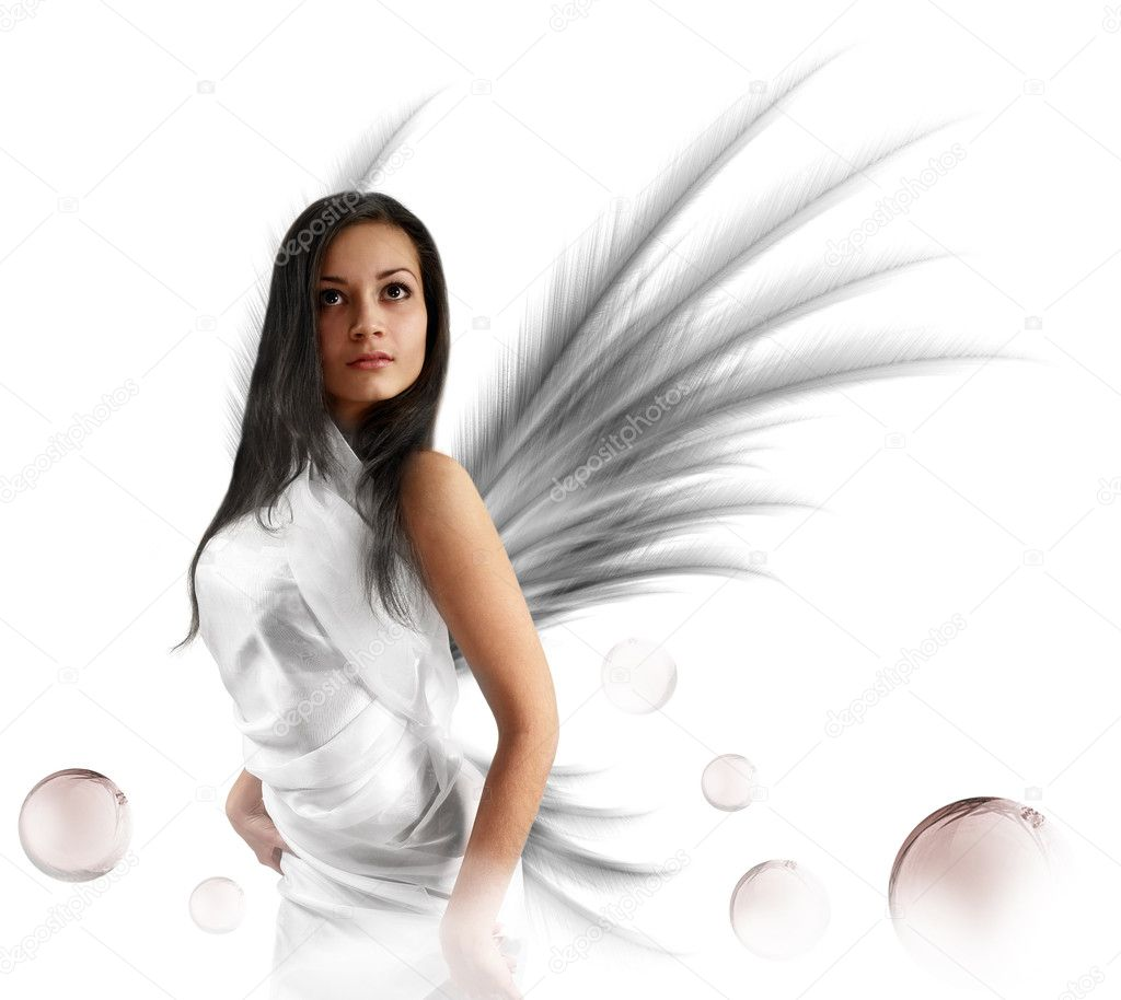 Sexy white angel with the magic bubbles. Isolated on white. — Stock Photo #1228355